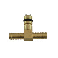 """Beverage System Part, Pump Fitting, Brass 1/4'' """"T"""" hose barb inlet with shut-off"""
