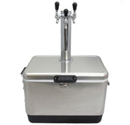 Jockey Box Picnic SS Cooler for Wine & Beer, 54 QT, 3 Faucet Tower, 120' Coils