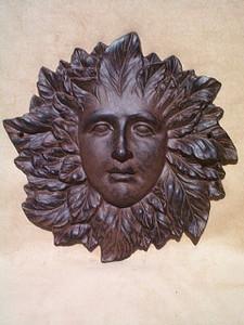 Mother Nature leaf goddess garden plaque ~ cast iron ~ Green Woman