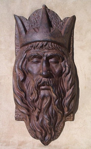 King Arthur wall plaque ~ medieval cast iron knight mask