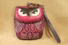 Purple owl wristlet