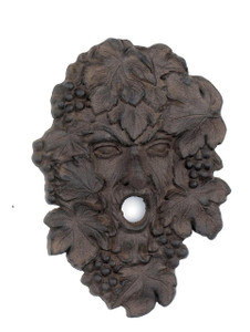 Green Leaf Man garden face plaque ~ cast iron ~ Wine God Bacchus Dionysus Grape Vine