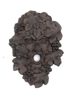 Green Leaf Man garden face plaque ~ cast iron ~ Wine God Bacchus Dionysus Grape Vine