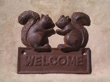 Squirrel welcome sign