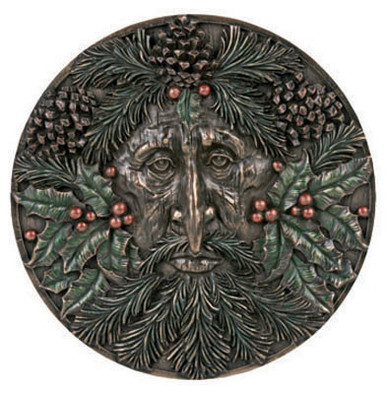 Winter Green Man plaque ~ resin
