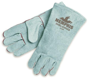 """4150 Premium Select Shoulder Gray Leather Welders, 13"""" length, Large, 1 Piece Back, Wing thumb, Fully welted and lined, black cotton drill lining, CE 4243"""