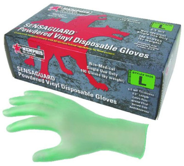 5025 SensaGuard, 6.5 mil. Disposable green Gloves, Powdered, Industry standard, Industrial/Food service grade, Non-Sterile, Ambidextrous, 100 gloves per dispenser