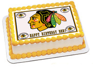 CHICAGO BLACKHAWKS 1 Edible Birthday Cake Topper OR Cupcake Topper, Decor