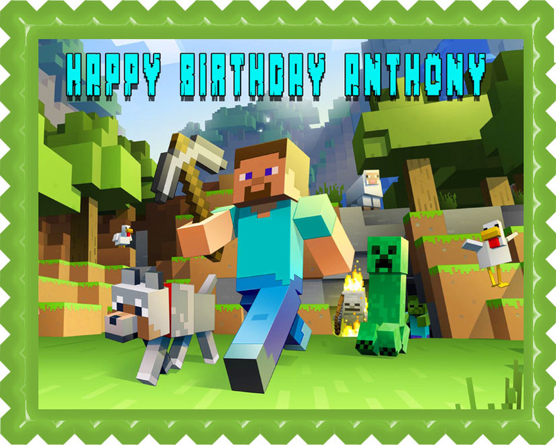 Minecraft Characters 2 Edible Birthday Cake Topper Or Cupcake Decor Image 1