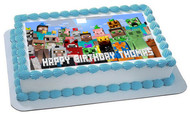 MINECRAFT Characters 5 Edible Birthday Cake Topper OR Cupcake Topper, Decor
