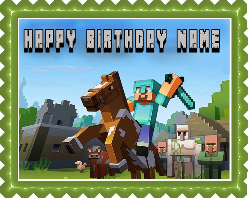 Minecraft Characters 6 Edible Birthday Cake Topper