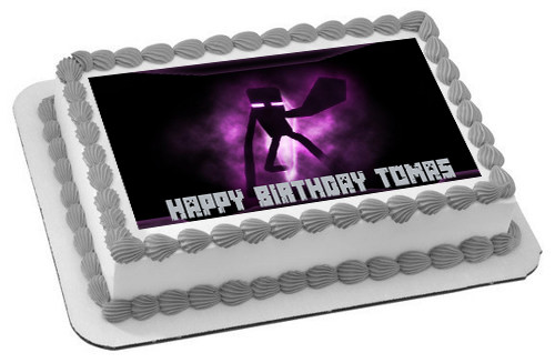 Minecraft Enderman Edible Birthday Cake Topper