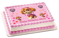 PAW PATROL SKYE 3 Edible Birthday Cake Topper OR Cupcake Topper, Decor