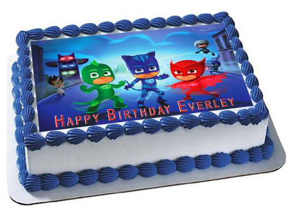 Pj Masks Edible Birthday Cake Topper Edible Cake Image