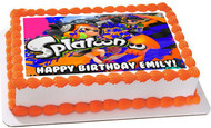 Splatoon Edible Birthday Cake Topper OR Cupcake Topper, Decor