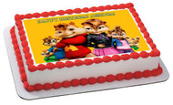 ALVIN AND THE CHIPMUNKS ROAD CHIP 4 Edible Birthday Cake Topper OR Cupcake Topper, Decor