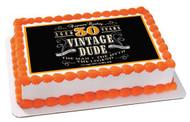 Vintage Dude 30th Edible Birthday Cake Topper OR Cupcake Topper, Decor