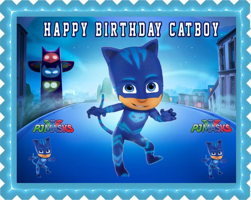 Cat Boy Edible Birthday Cake Topper Edible Cake Image