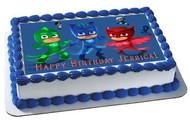PJ MASKS 5 Edible Birthday Cake Topper OR Cupcake Topper, Decor