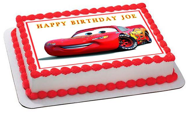 Disney Cars Birthday Cake: Disney Pixar Cars Lightning McQueen 1 Edible Birthday Cake