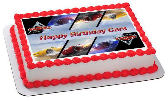 Cars 3 Edible Birthday Cake Topper