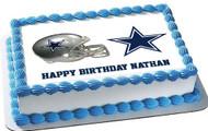 Dallas Cowboys 3 Edible Birthday Cake Topper OR Cupcake Topper, Decor