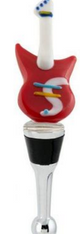 L. S. Arts Red and White Guitar Bottle Stopper
