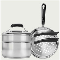Range Kleen Basics 3 Quart Covered Sauce Pan with Double Boiler & Steamer Insert