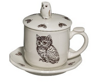 Sadek Owl Tea Cup Saucer and Infuser