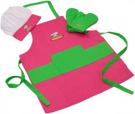 Curious Chef 4 Piece Girls Child Apron Set