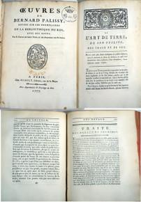 Rare Science Book: Palissy, Bernard; Oeuvres de Bernard Palissy, revues sur les exemplaires de la Bibliothèque du Roi avec des notes par M. Faujas de Saint Fond, et des additions par M. Gobet.