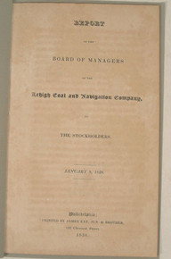 Rare Pennsylvania Anthracite Coal Mining Report, Joseph Watson, Report of the Lehigh Coal and Navigation Company, 1838