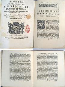Rare Science Book: Viviani, Vincenzo; Discorso al Serenissimo Cosimo III Granduca di Toscana intorno al difendersi da Riempimenti, e dalle Corrosioni de Fiumi. 1688.