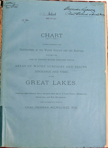 Rare Book on Great Lakes: Crossman, Charles; Chart showing graphically the fluctuations of the water surface and the rainfall from 1859 to 1888....1888.