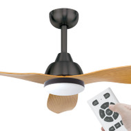 Brilliant Bahama DC Motor 132cm Charcoal/Maple LED Light & Remote Ceiling Fan