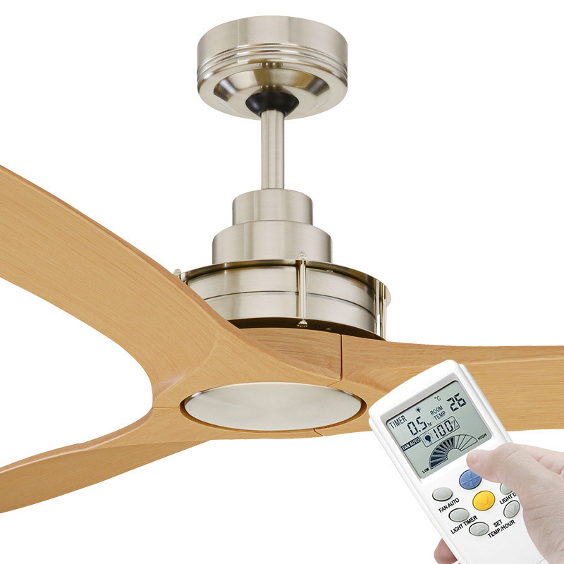 Mercator Flinders 140cm Brushed Chrome Ceiling Fan With Lcd Remote Galaxy Lighting Fans