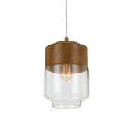 Telbix Jacky 18 Hanging Pendant Oak/Glass