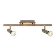 Mercator Pronto 2lt GU10 LED Spotlight Antique Brass