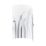 Eglo Rivato Frost & Chrome Pattern Glass Wall Light