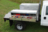 Brute High Capacity Flat Bed Stake Bed Topsider Truck Tool Box With Drawers shown mounted to flat bed