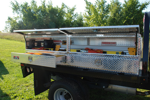 Brute High Capacity Flat Bed Stake Bed Topsider Truck Tool Box With Drawers - 96 inch model shown mounted to flat bed