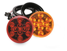 "4"" Round 10 LED Flush Mount Light Kit is available in amber or red"