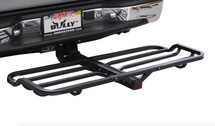 Tubular hitch mounted cargo carrier