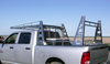 Wildcatter Super Heavy Duty Truck Ladder Rack on Ram in stainless steel with standard mesh cab guard and OPTIONAL additional over-cab crossbar