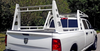 Wildcatter Super Heavy Duty Truck Ladder Rack with stainless crossbar in non-standard white powder coat WITHOUT cab guard, diminishing the carrying capacity to 2,000 lbs. of evenly distributed cargo.  Photo credit to Eric Smith.