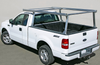 Galleon Aluminum Overhead Stake Pocket Truck Ladder Rack mounted to a Ford F150 without a tonneau cover - Standard Model