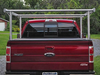 Galleon Aluminum Overhead Stake Pocket Truck Ladder Rack shown in the extra wide model with straight legs mounted to a Ford F150 with a sectional tonneau cover.