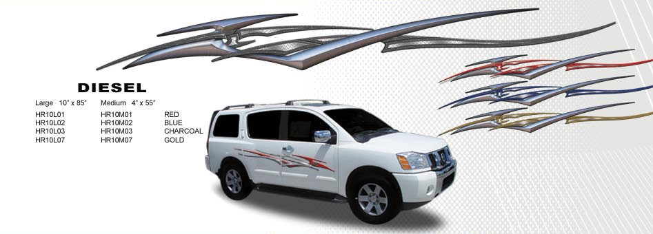 Diesel automotive vinyl graphics universal fit decal stripes kit pictured with nissan suv