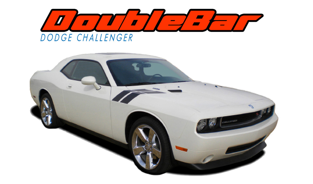 Dodge Challenger Hood Stripes Vinyl Graphics Decal DOUBLE BAR - Decal graphics