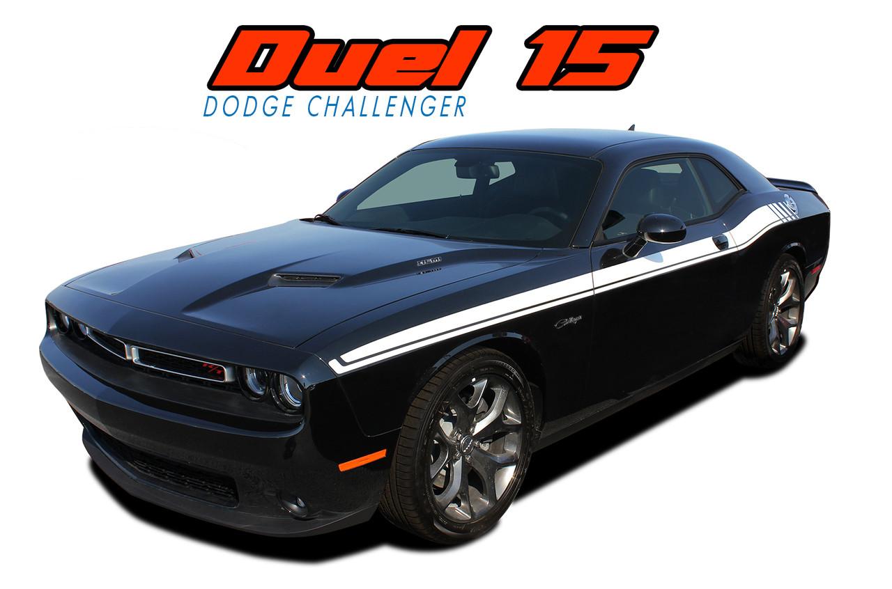 dual 15 dodge challenger stripes challenger decals. Black Bedroom Furniture Sets. Home Design Ideas